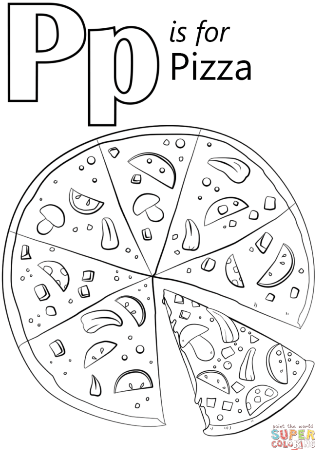 Click The Letter P Is For Pizza Coloring Pages