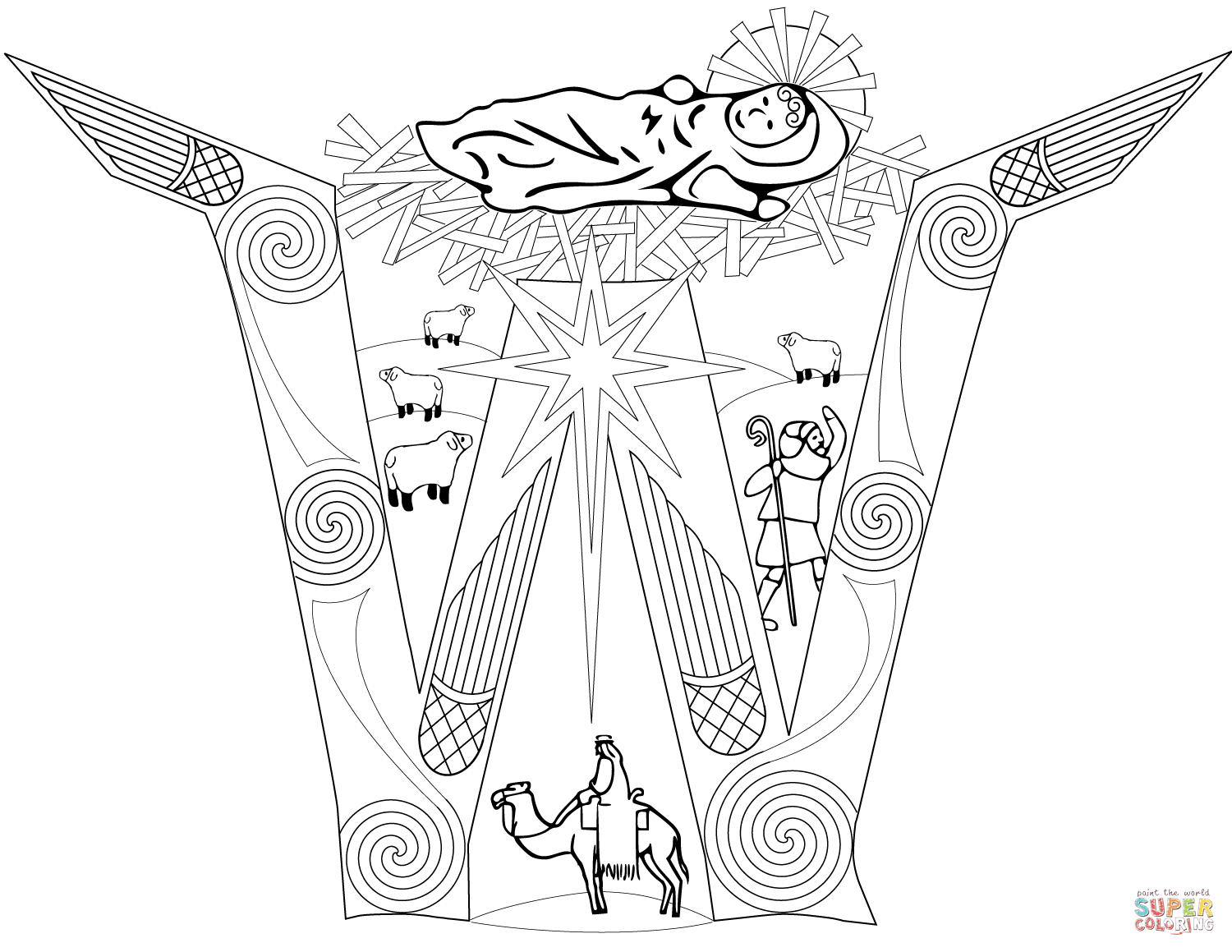 Letter W With Nativity Scene Coloring Page Free Printable