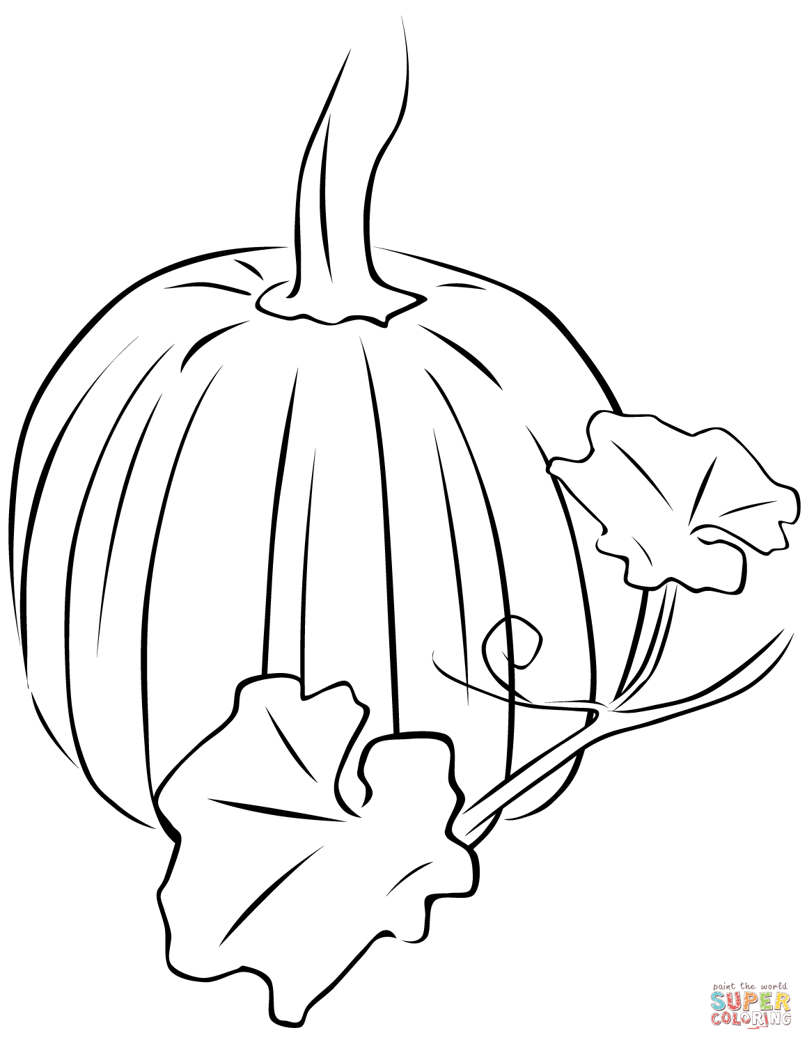 Pumpkin With Leaves Coloring Page