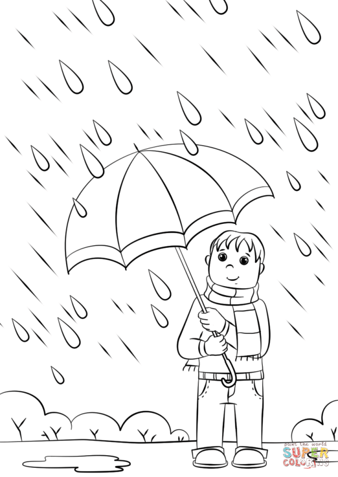 rainy day coloring page free printable pages - Rainy Day Coloring Pages