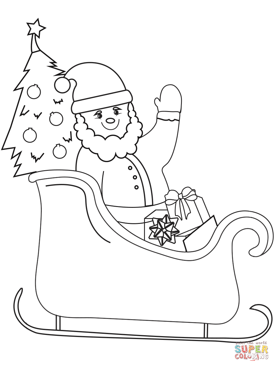Santa Sleigh Coloring Page Free Coloring Pages Download | Xsibe ...