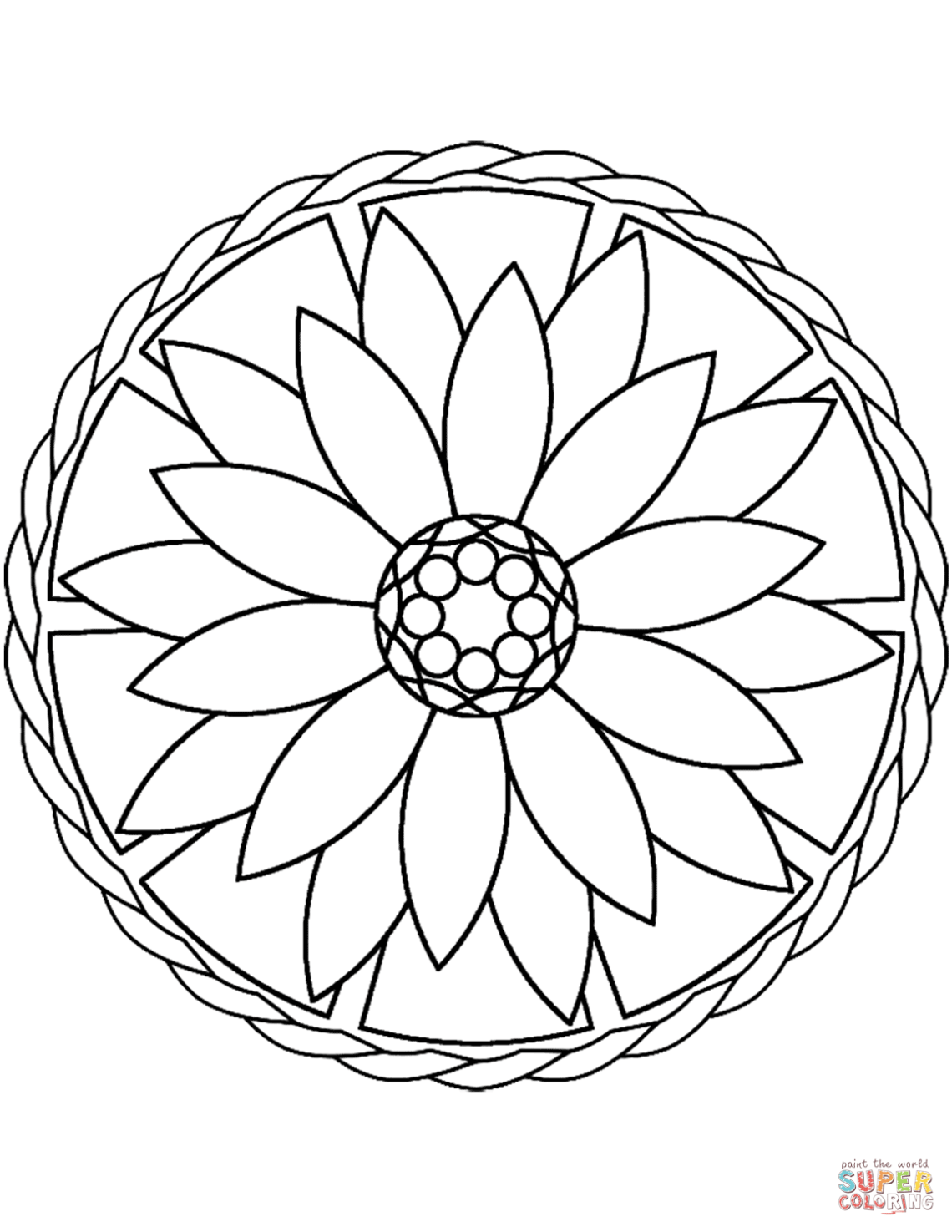 Simple Mandala with Flower coloring page | Free Printable ... | free printable mandala coloring pages for adults easy