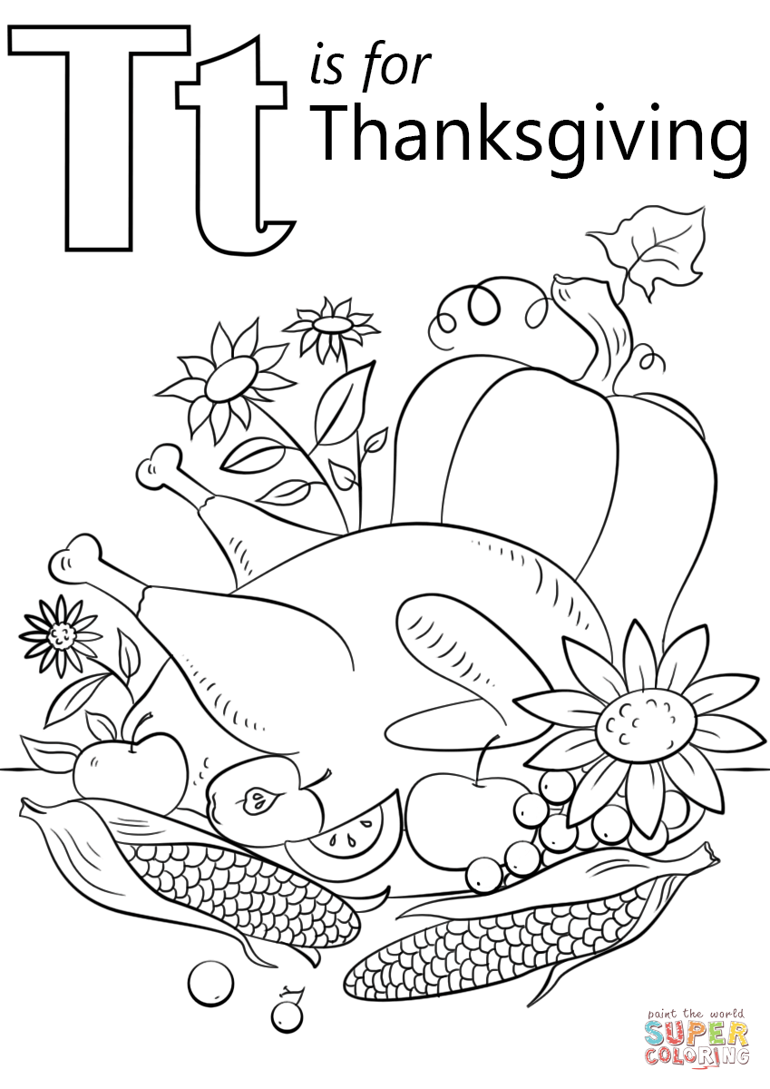 T Is For Thanksgiving Coloring Page Free Printable Coloring Pages