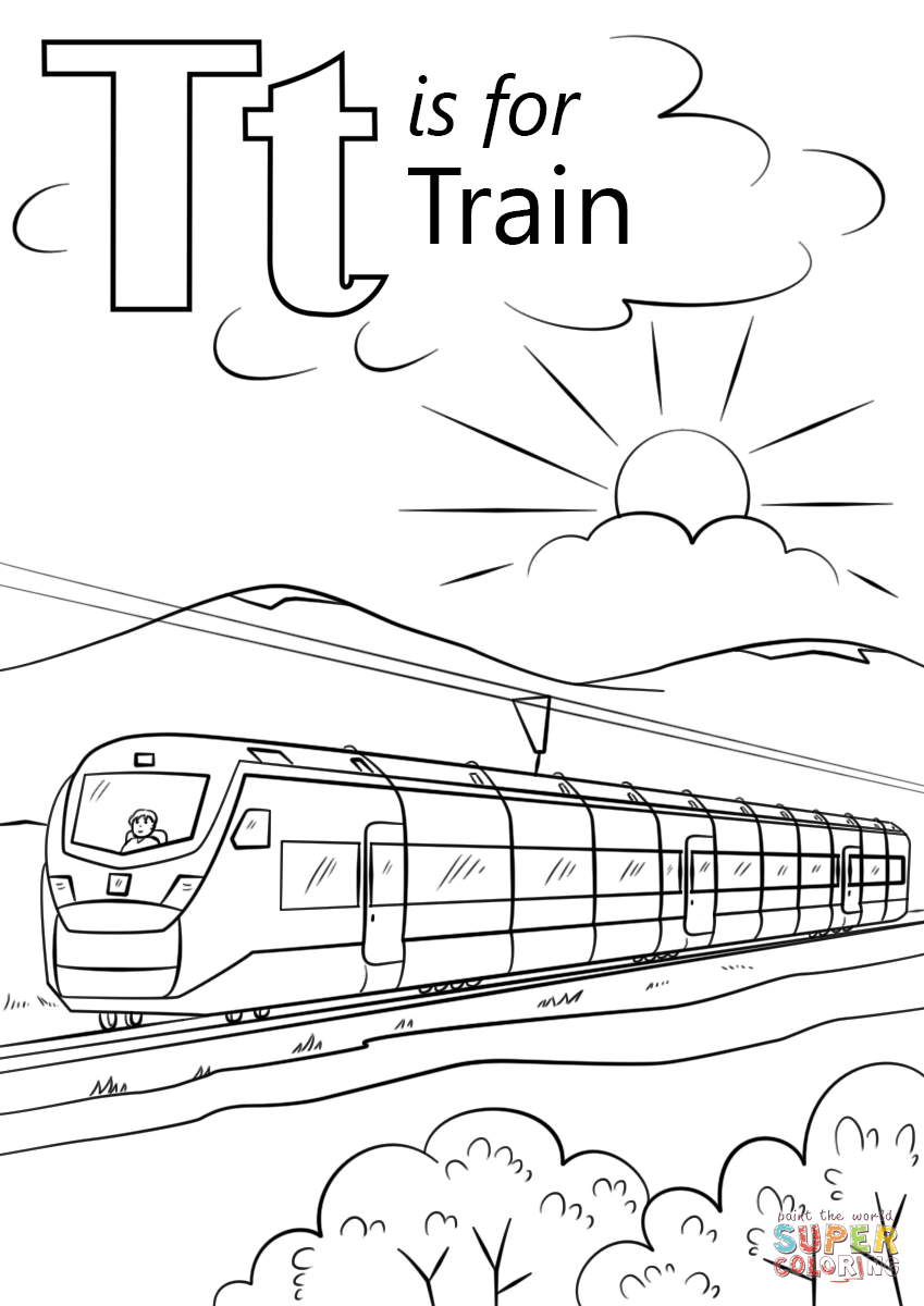 T Is For Train Coloring Page Free Printable Coloring Pages