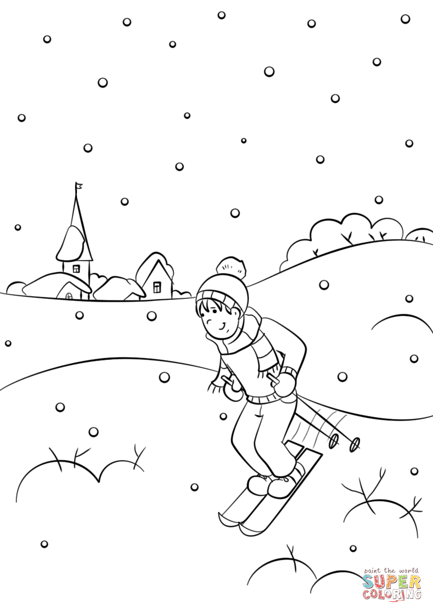 Winter Scene Coloring Page Free Printable Coloring Pages