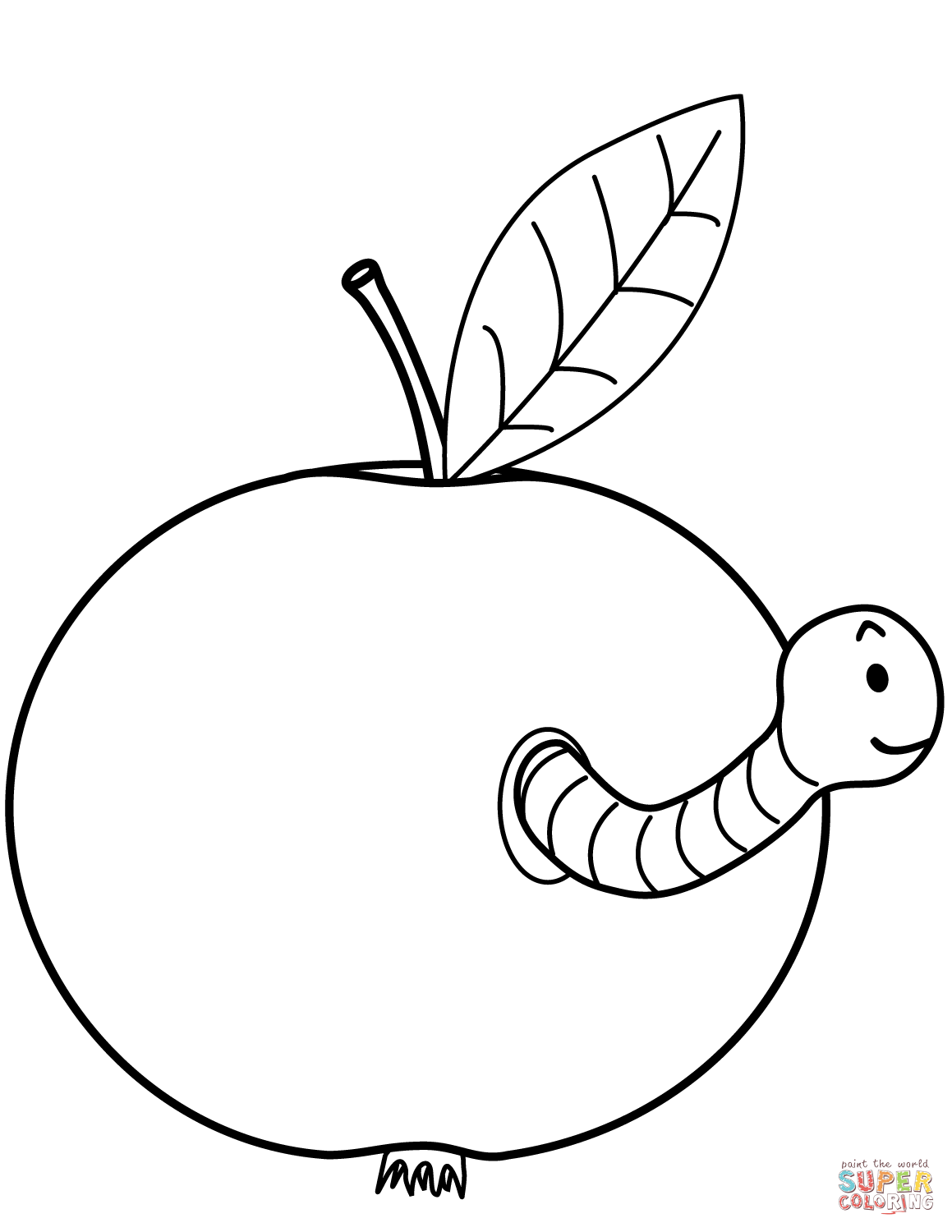 Worm Is Coming Out Of Apple Coloring Page