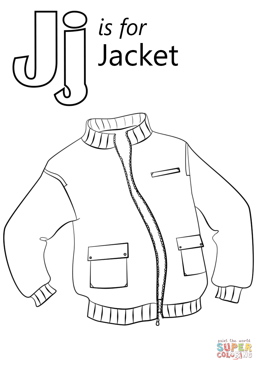 Letter J Is For Jacket Coloring Page Free Printable Coloring Pages