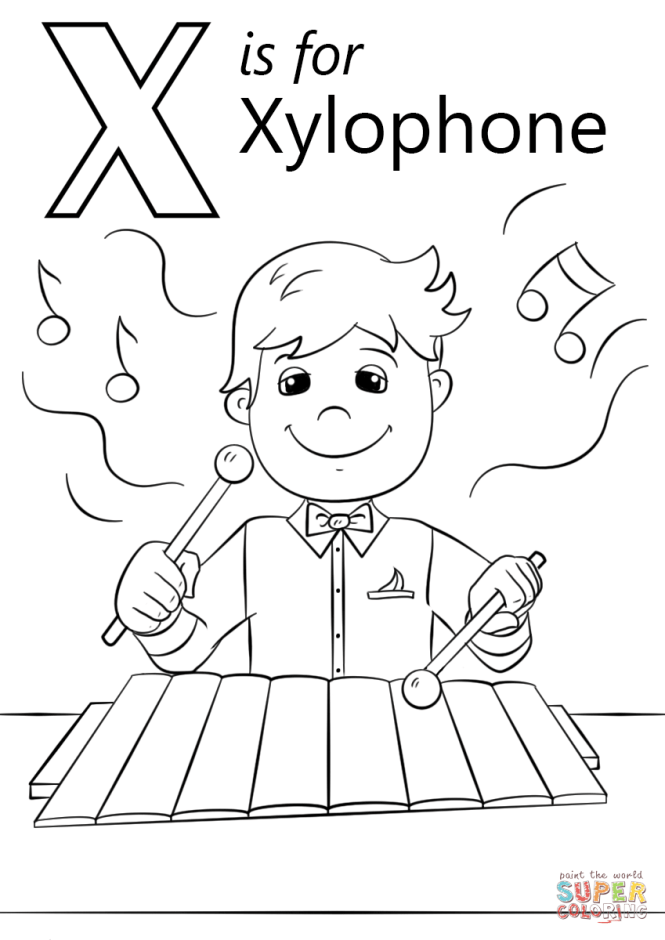 Letter X Is For Xylophone Coloring Page Free Printable