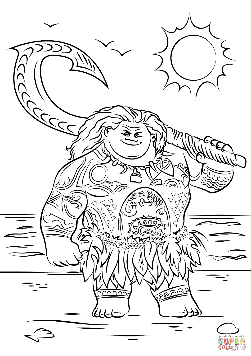 Maui From Moana Coloring Page Free Printable Coloring Pages