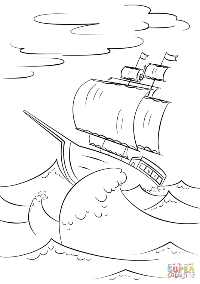 ocean wave coloring pages - Passionative.co