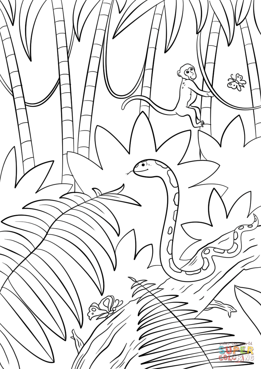 Jungle Scene coloring page | Free Printable Coloring Pages | jungle animals coloring pages for kindergarten