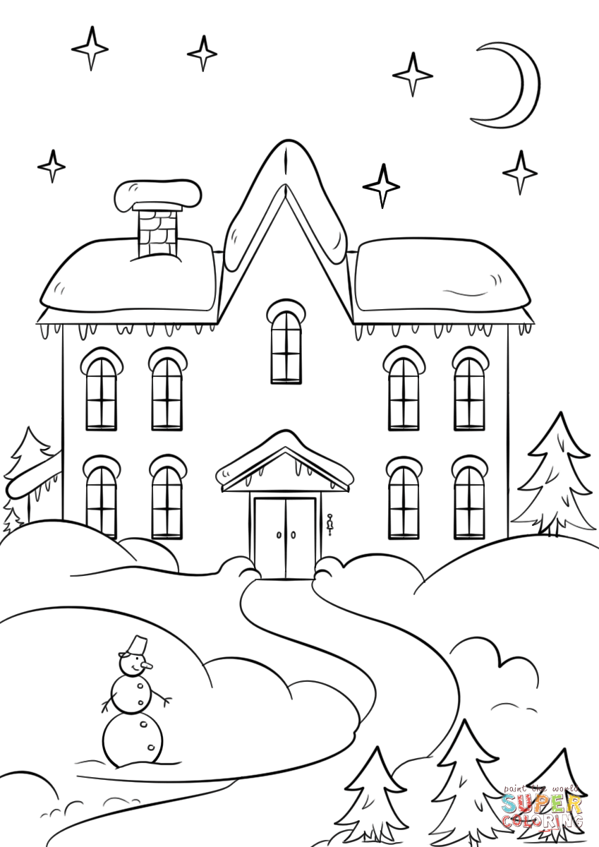 Winter House Coloring Page Free Printable Coloring Pages