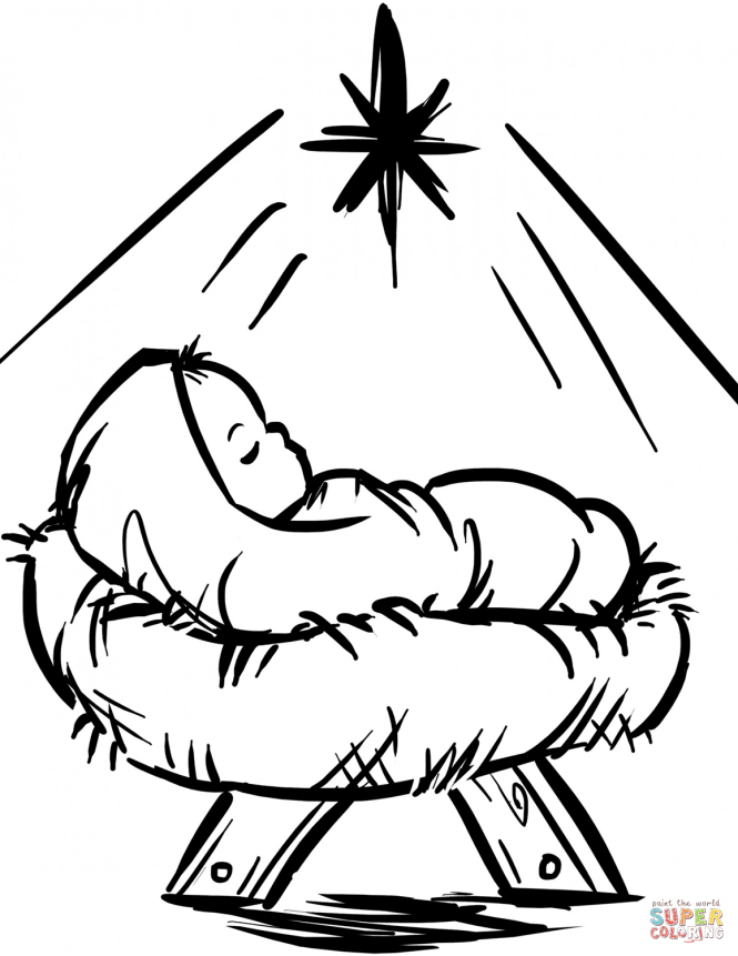 Click The Baby Manger Scene Coloring Pages
