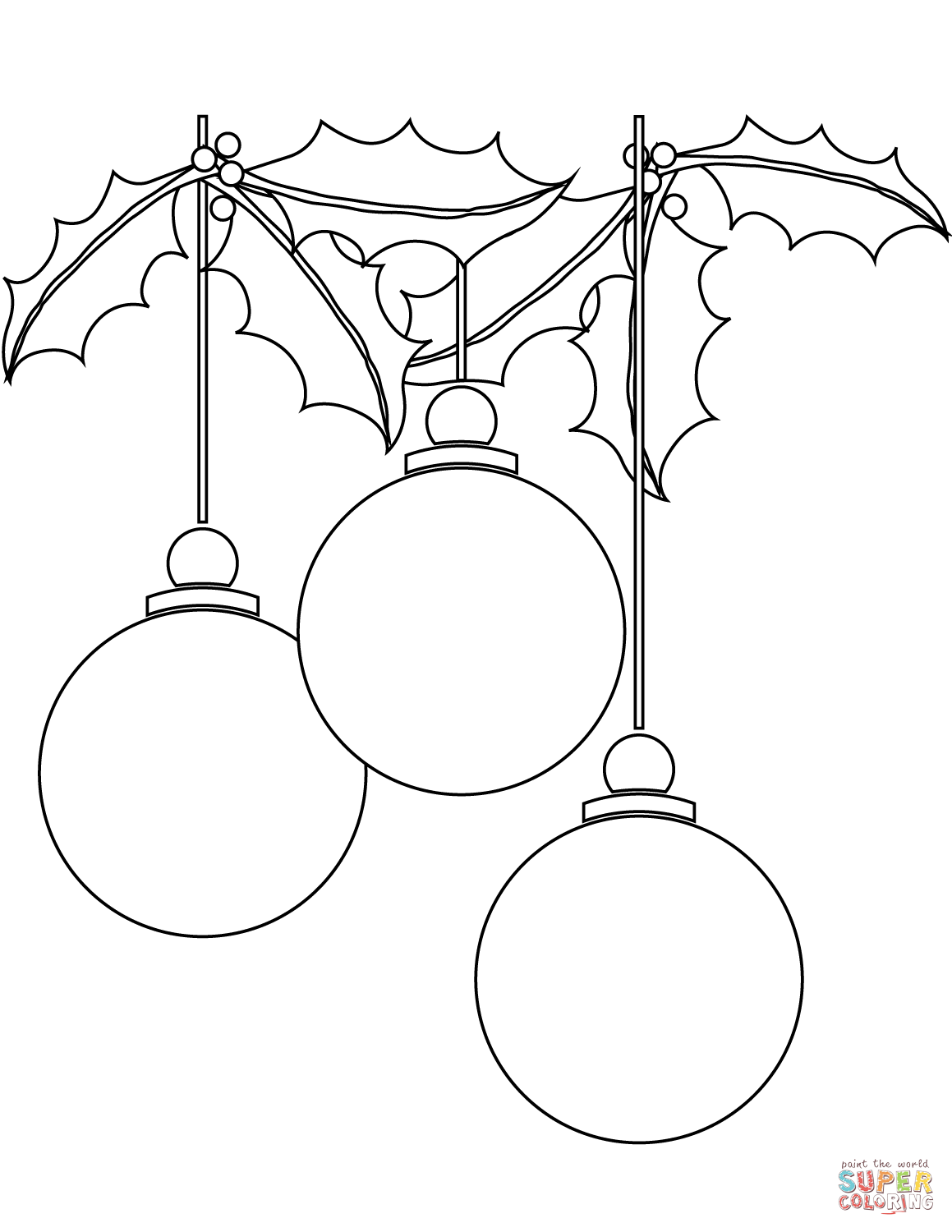 Christmas Ball Ornaments Coloring Page Free Printable Coloring Pages