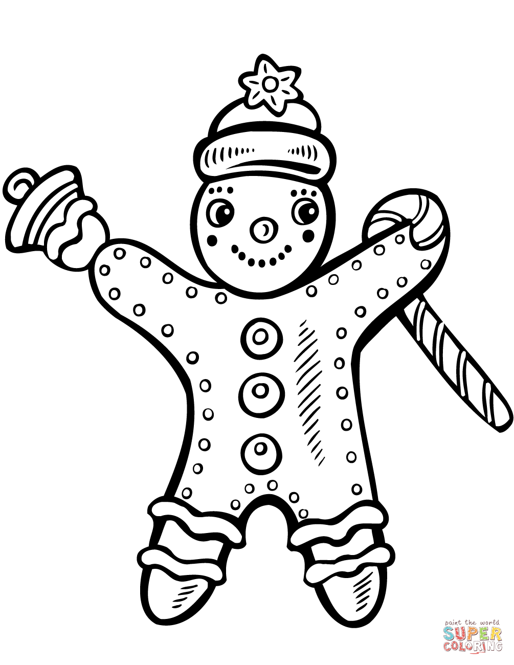 Christmas Gingerbread With Candy Cane And Bell Coloring Page
