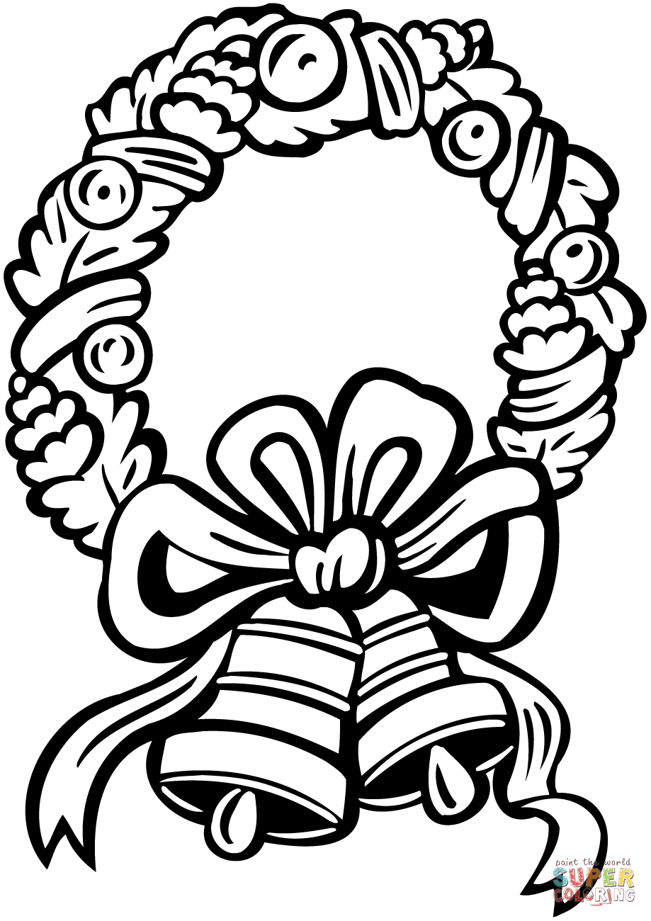 Christmas Wreath With Jingle Bells Coloring Page Free Printable