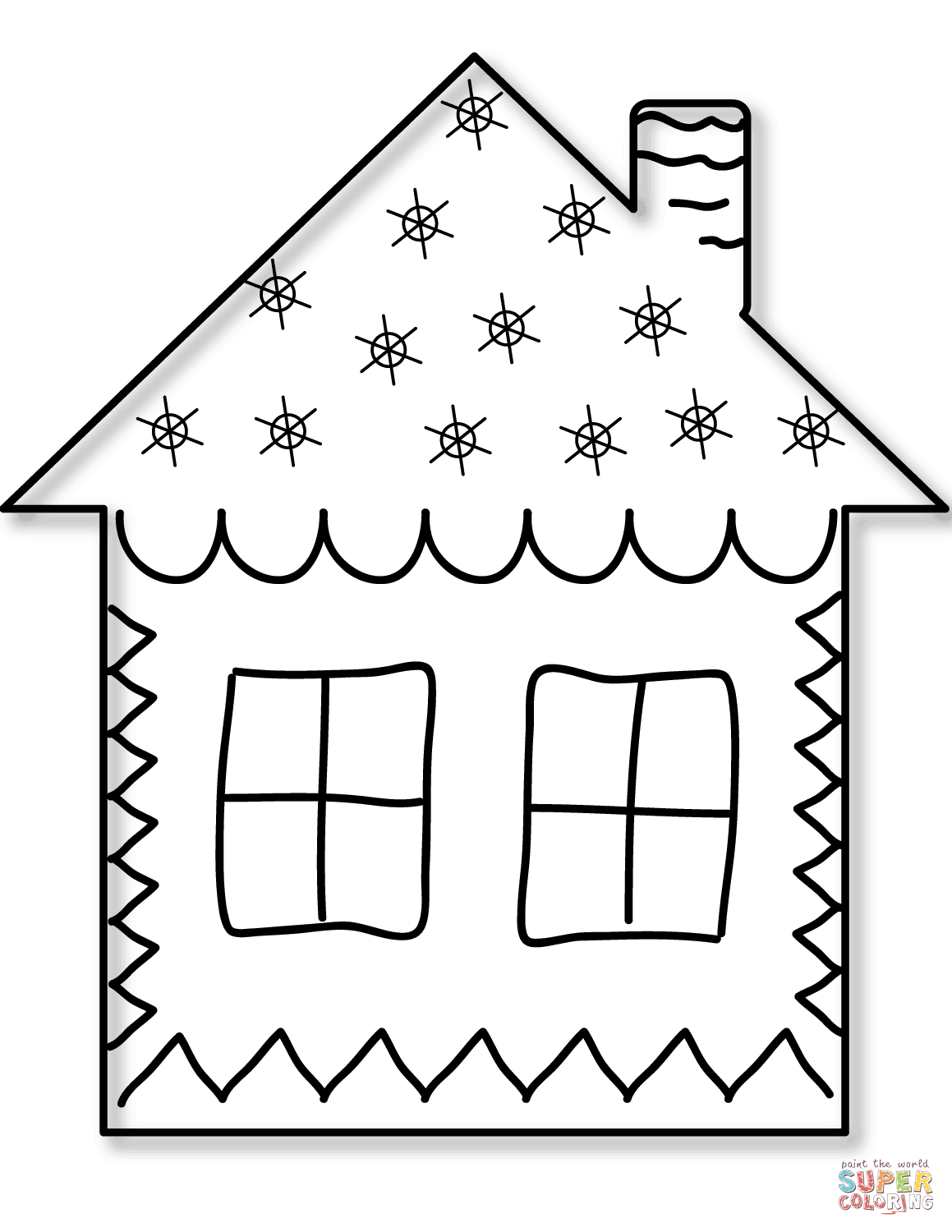 Gingerbread Home Coloring Page