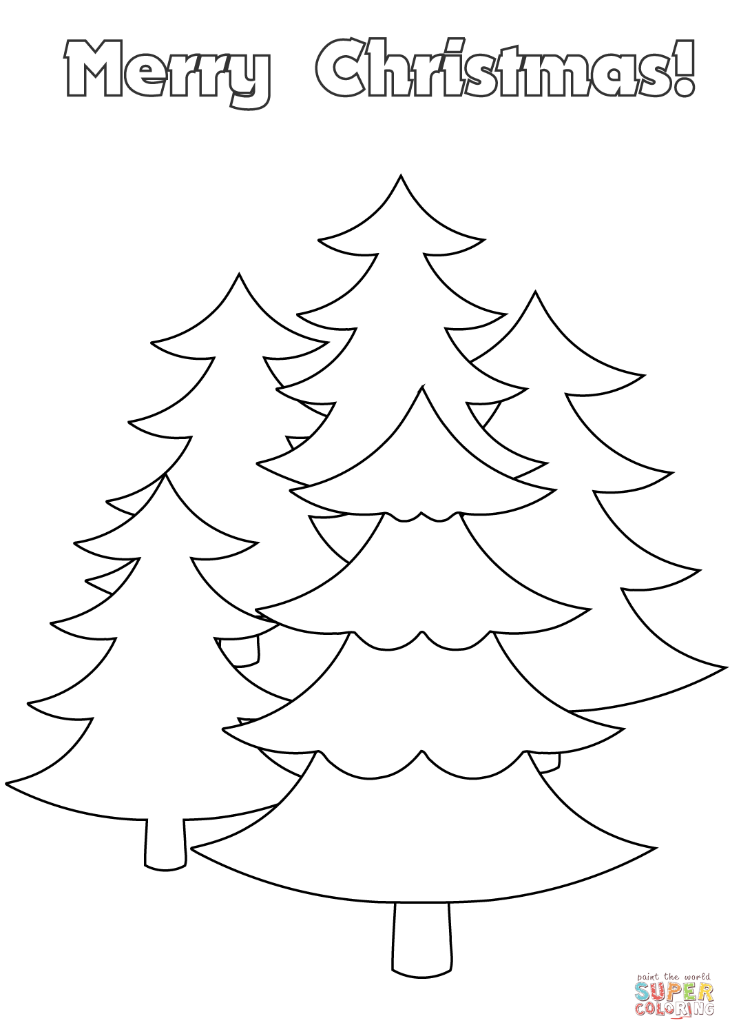 Merry Christmas Card With Trees Coloring Page