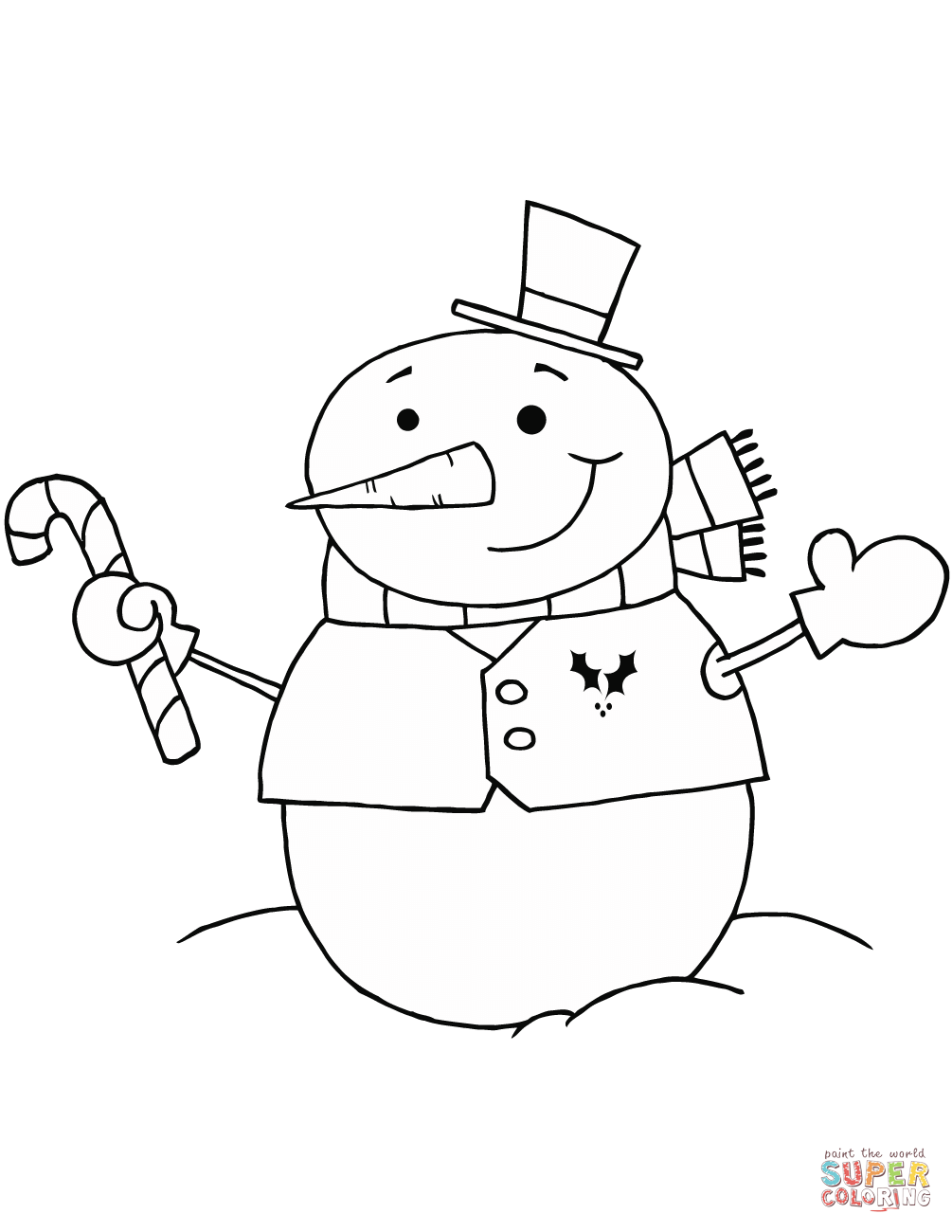 Snowman With Candy Cane Coloring Page Free Printable Coloring Pages
