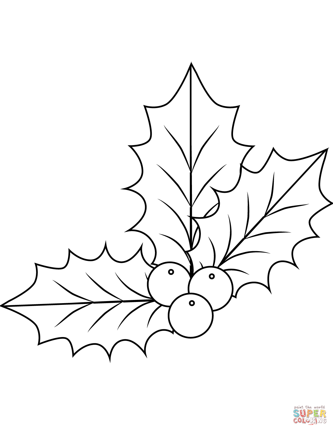 Xmas Holly Coloring Page Free Printable Coloring Pages