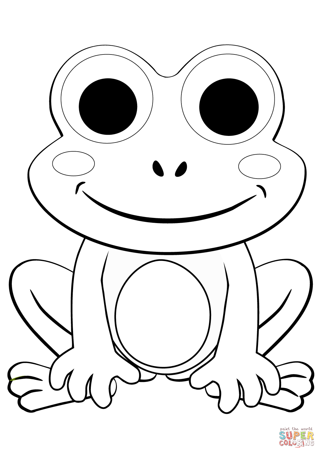 Cute Cartoon Frog Coloring Page