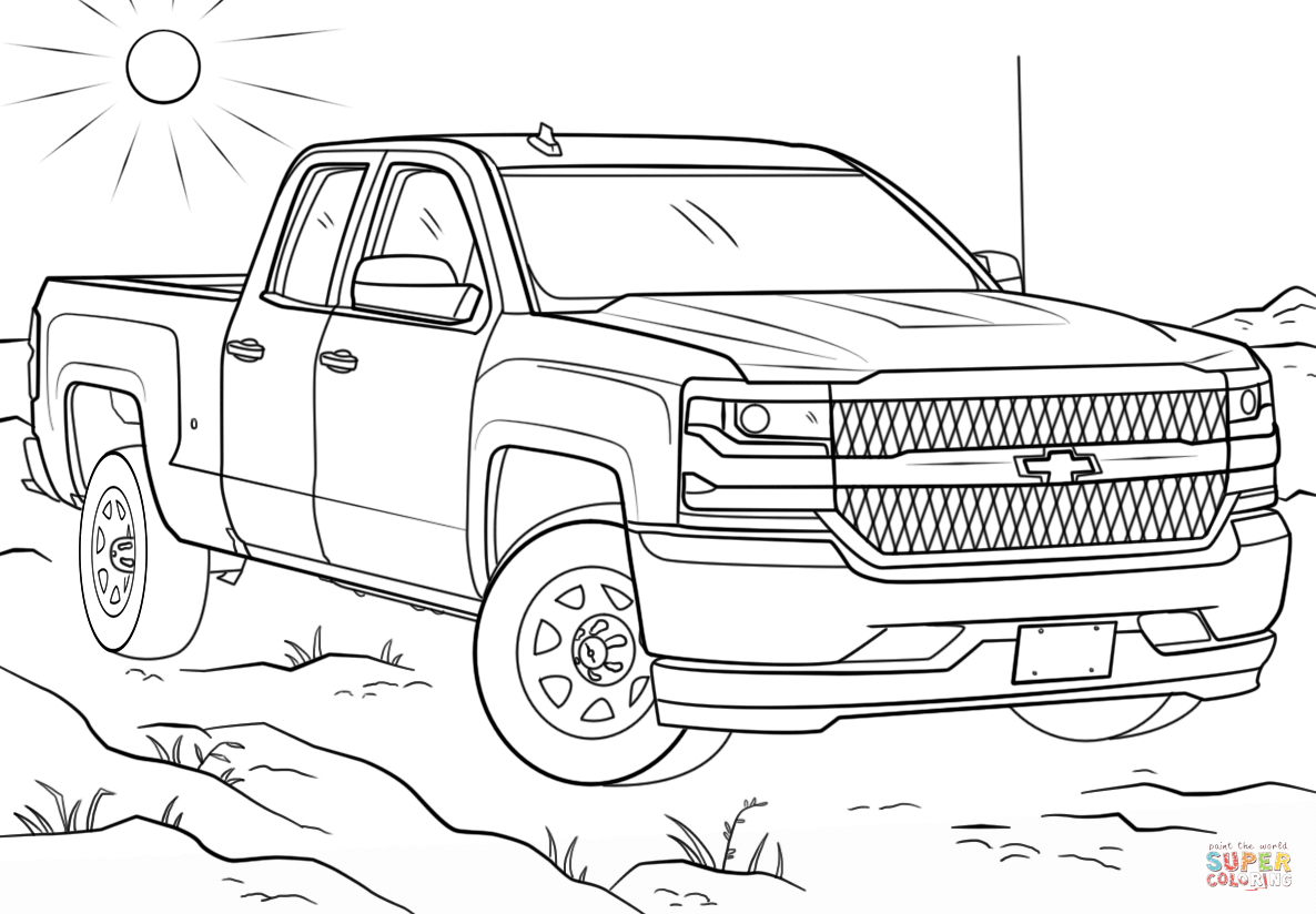 Chevy Silverado Double Cab Coloring Page