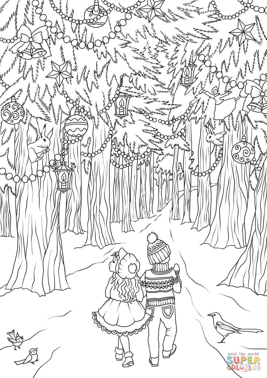 A Girl And A Boy Are Walking In The Christmas Forest