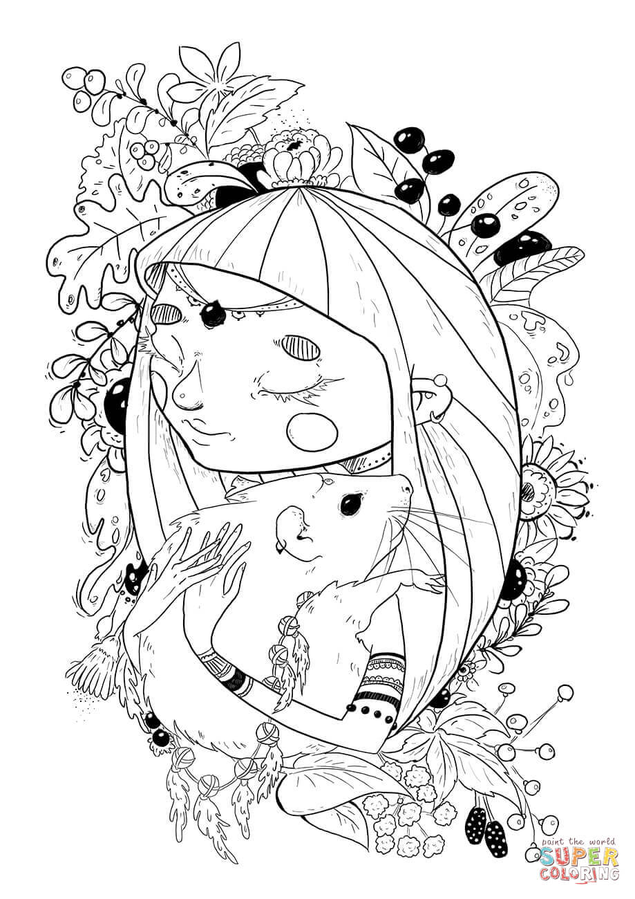 A Girl With A Rat Coloring Page Free Printable Coloring Pages