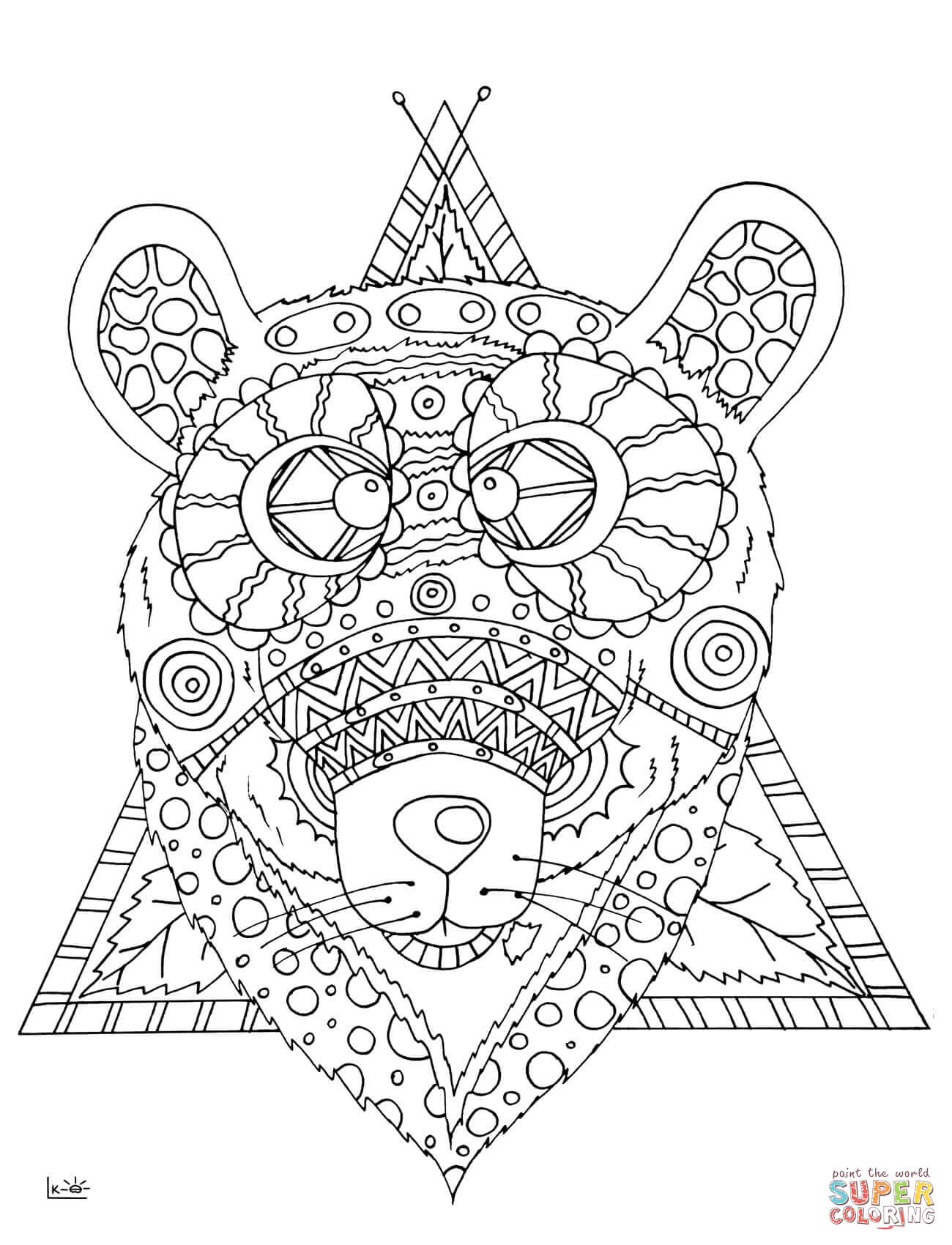 Bear With Tribal Pattern Coloring Page
