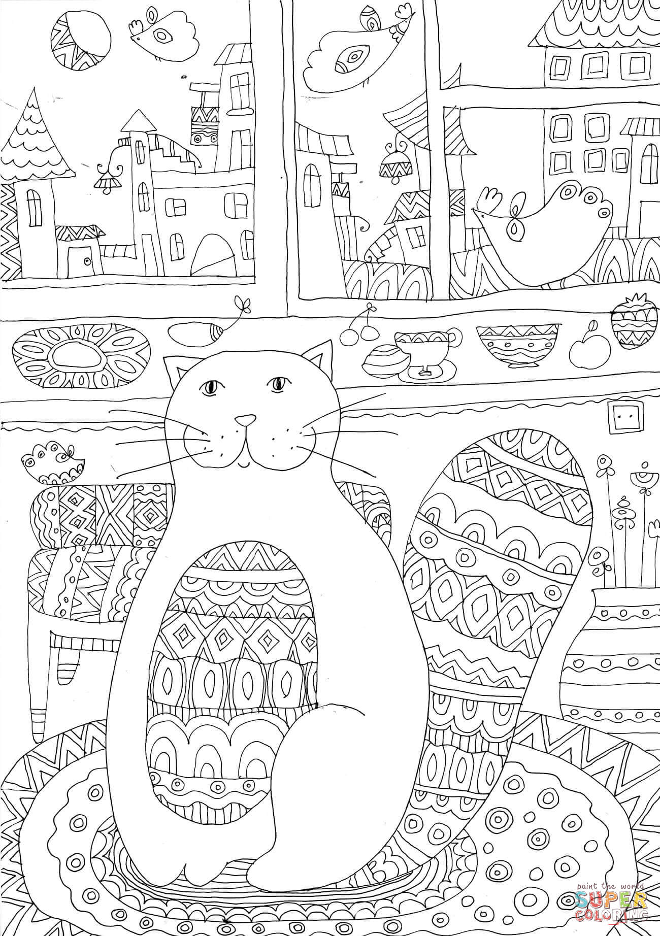 Cozy Kitty Cat Coloring Page