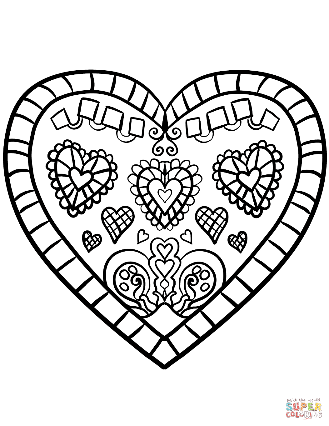 Decorated Heart Coloring Page