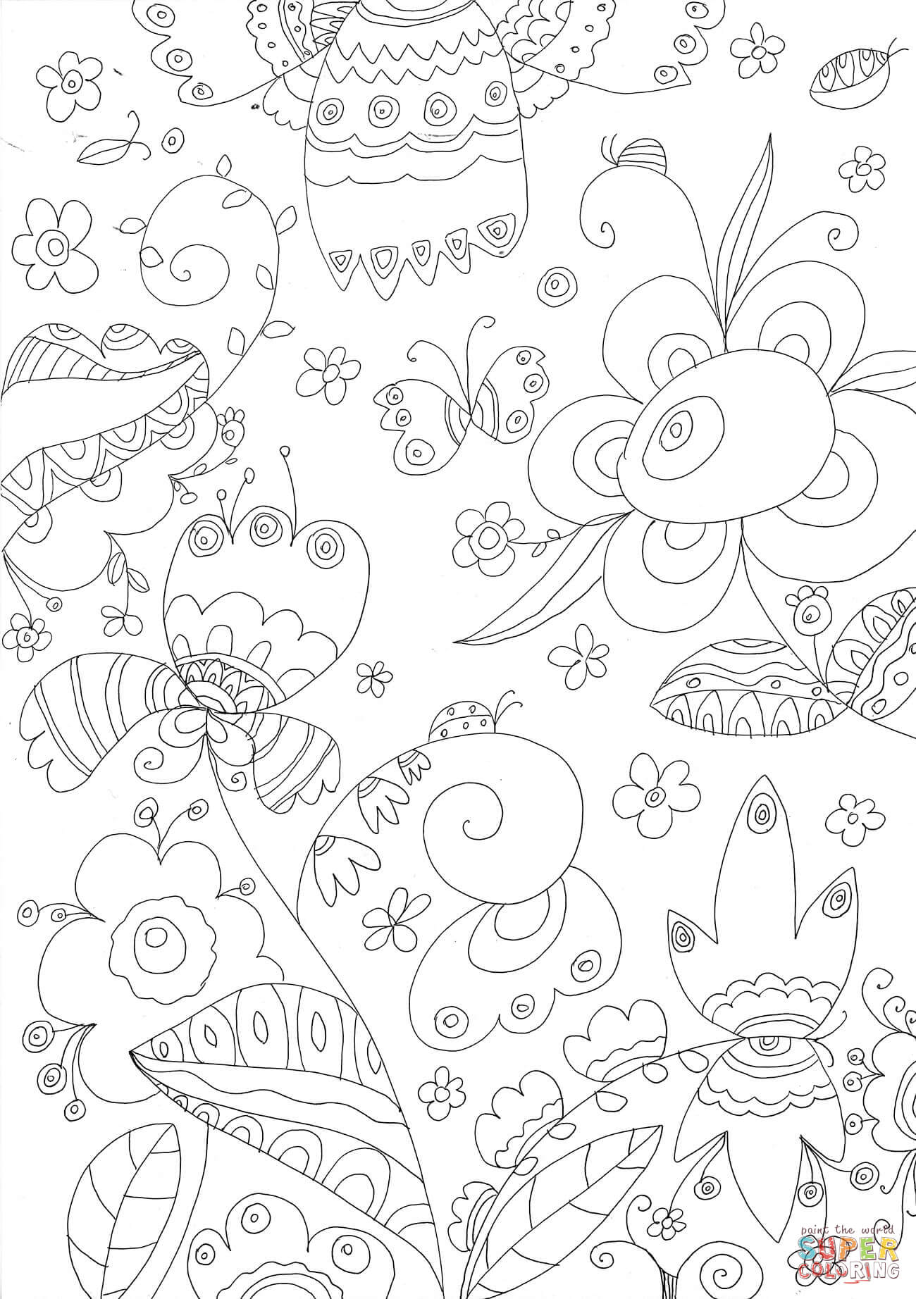 Forest Flowers Coloring Page