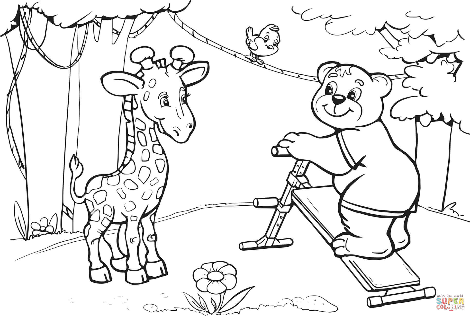 Giraffe And Bear Want To Do Abs Workout Coloring Page