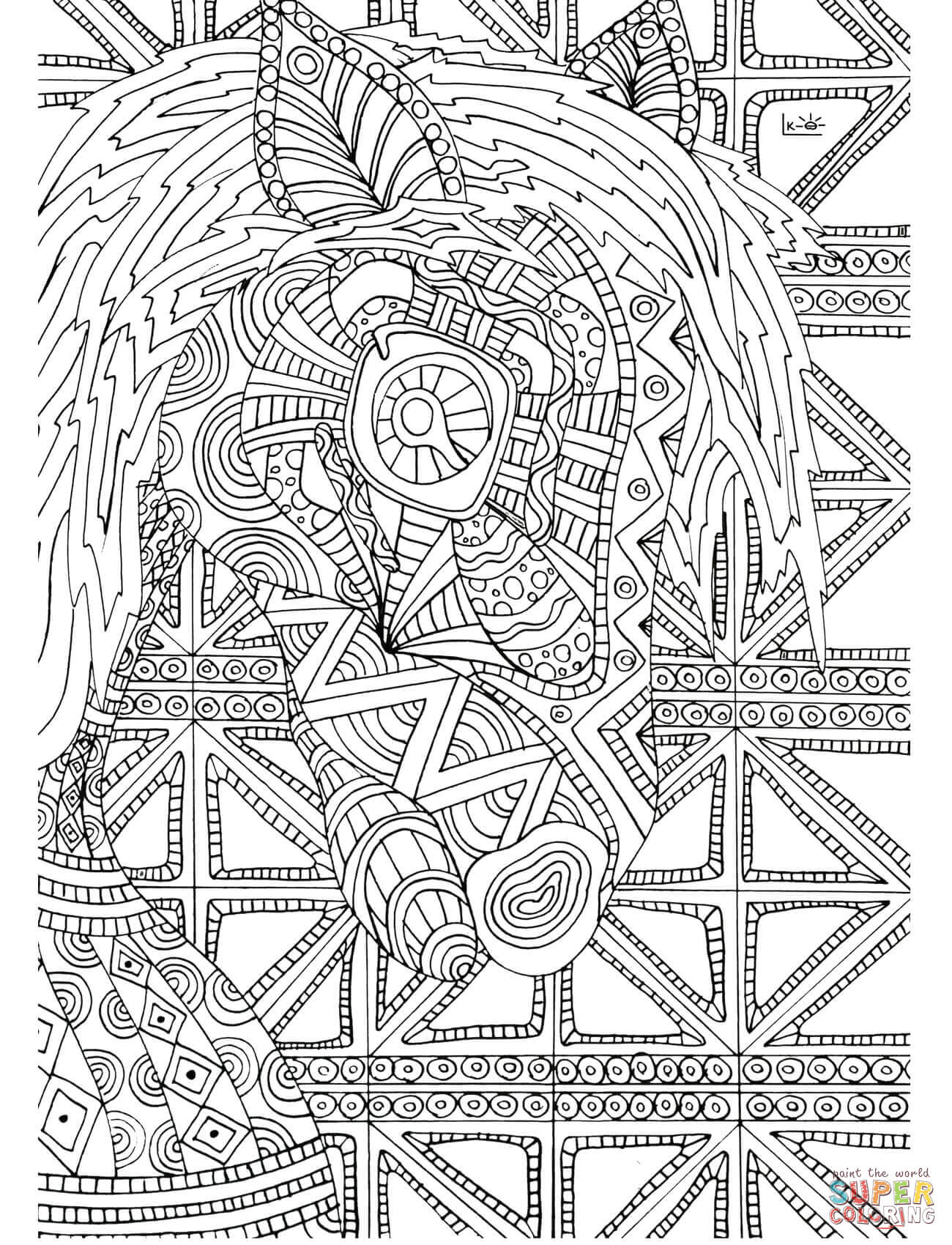 Horse With Tribal Pattern Coloring Page