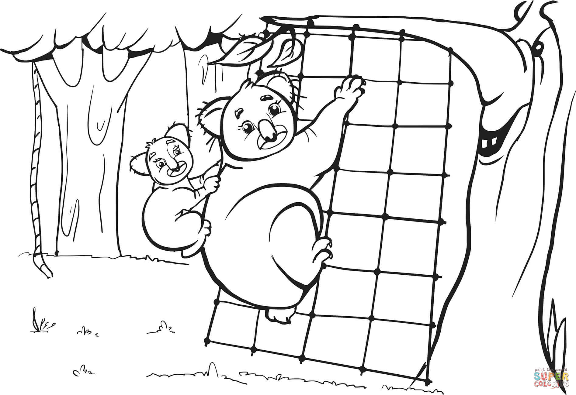 Koala Mother And Her Cub Are Climbing On The Grid Coloring