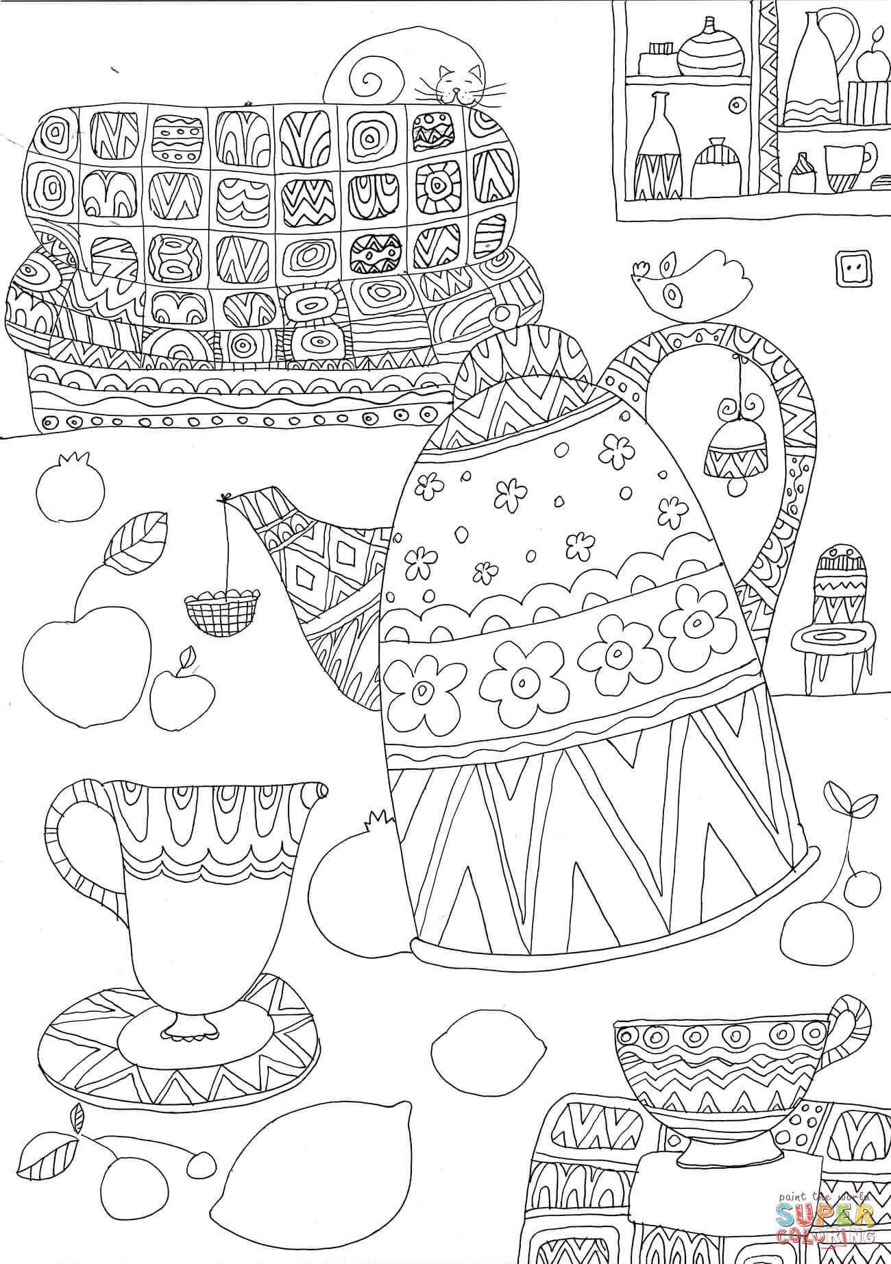 Lets Drink Tea Coloring Page