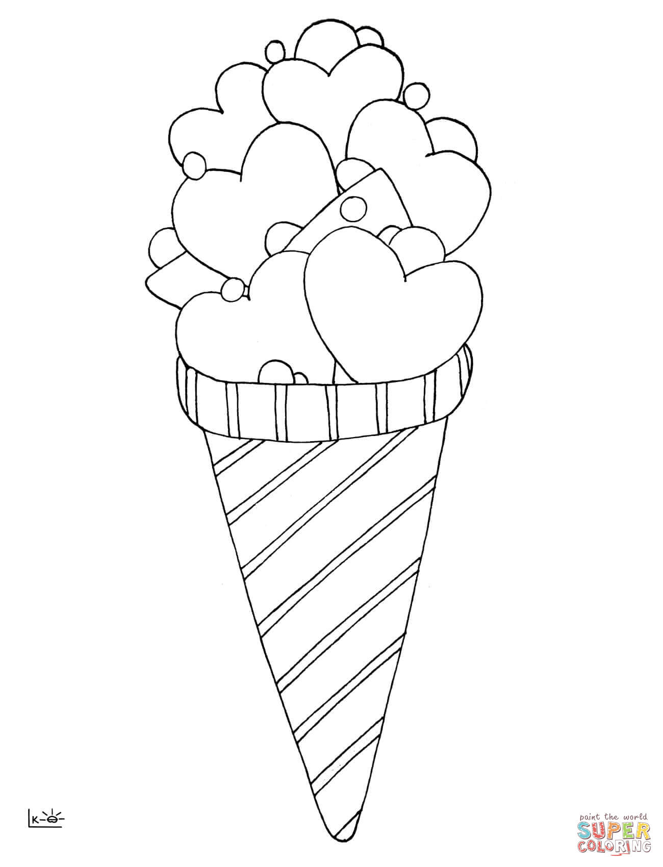 Love Ice Cream Coloring Page