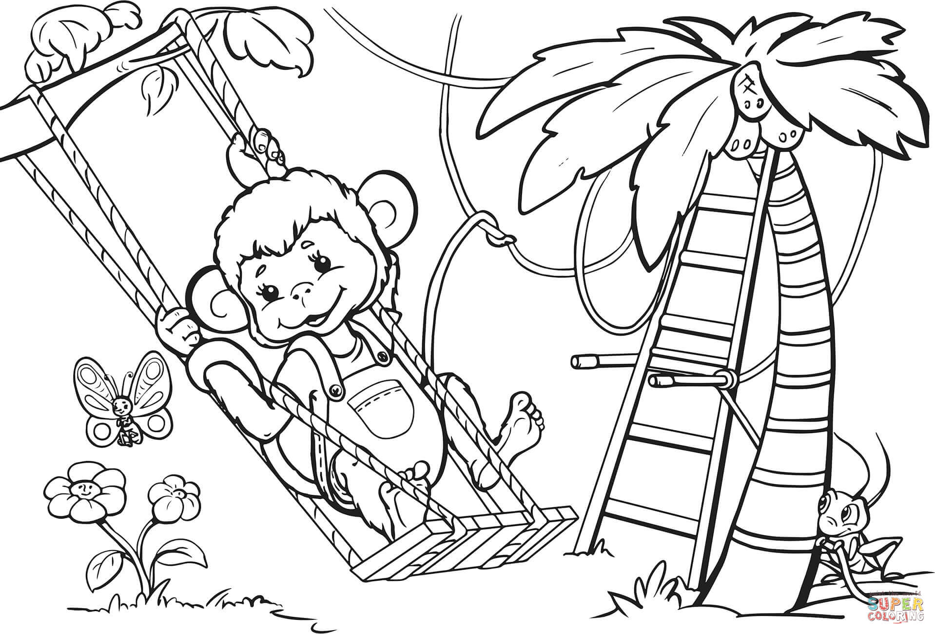 Monkey Is Swinging From The Tree Coloring Page