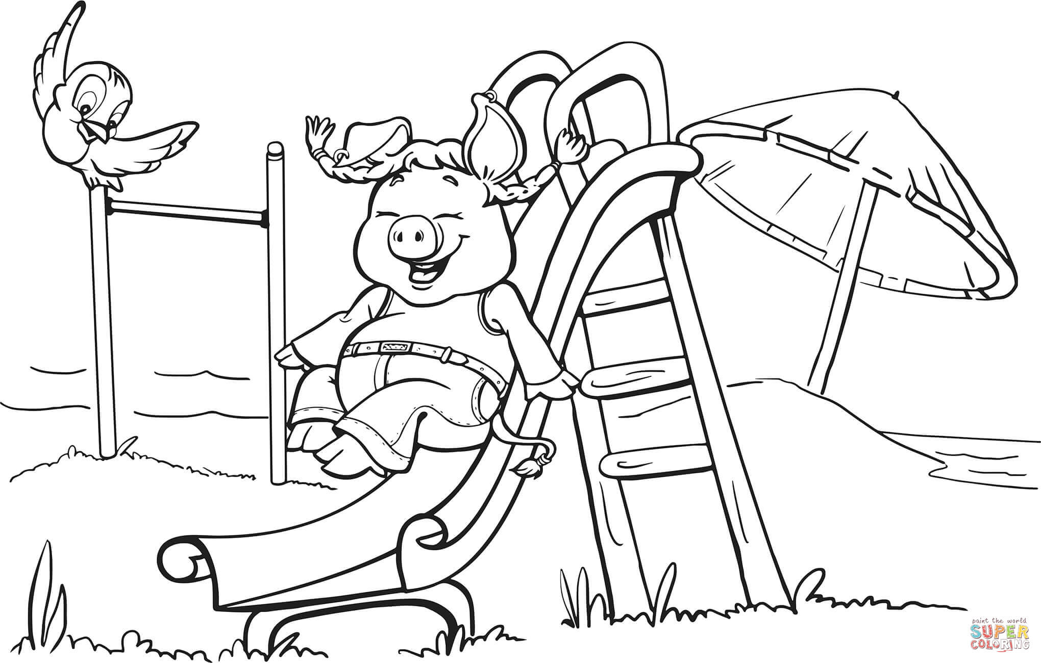 Pig On The Playground Slide Coloring Page