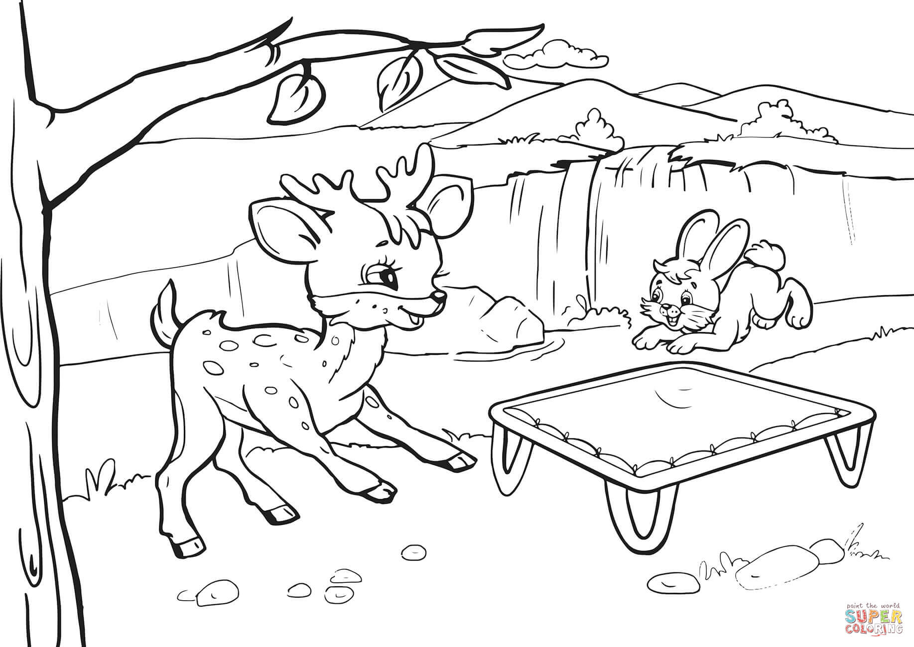 Rabbit And Deer Are Bouncing On A Trampoline Coloring Page