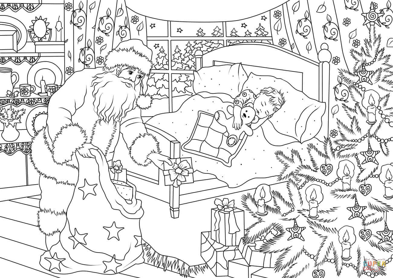 Santa Claus Is Delivering Presents Under The Christmas