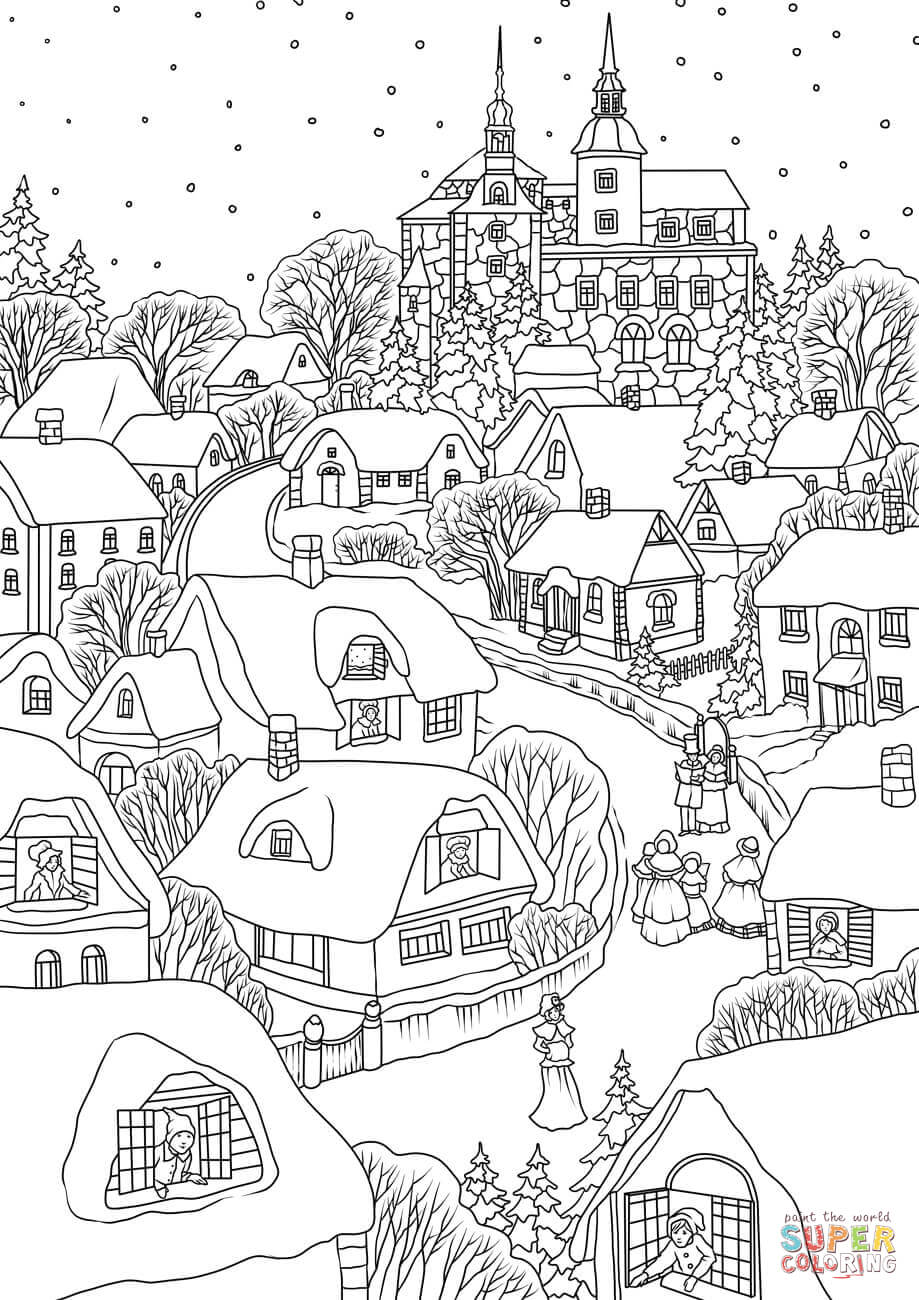 Snowy Village On Christmas Eve Coloring Page Free Printable