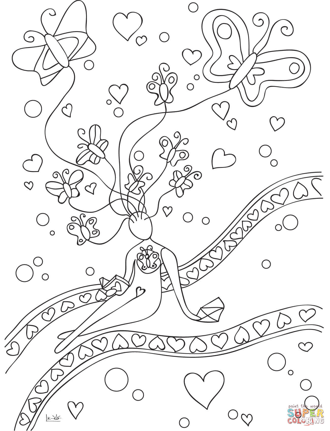 Spring Love And Butterflies Coloring Page