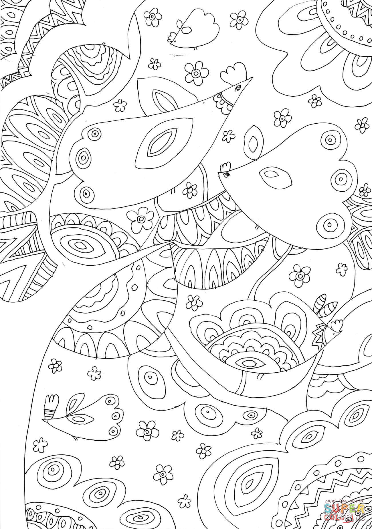 Trees And Birds Coloring Page