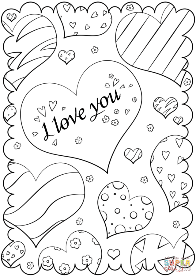 """Valentines Day Card """"I Love You"""" coloring page  Free Printable"""