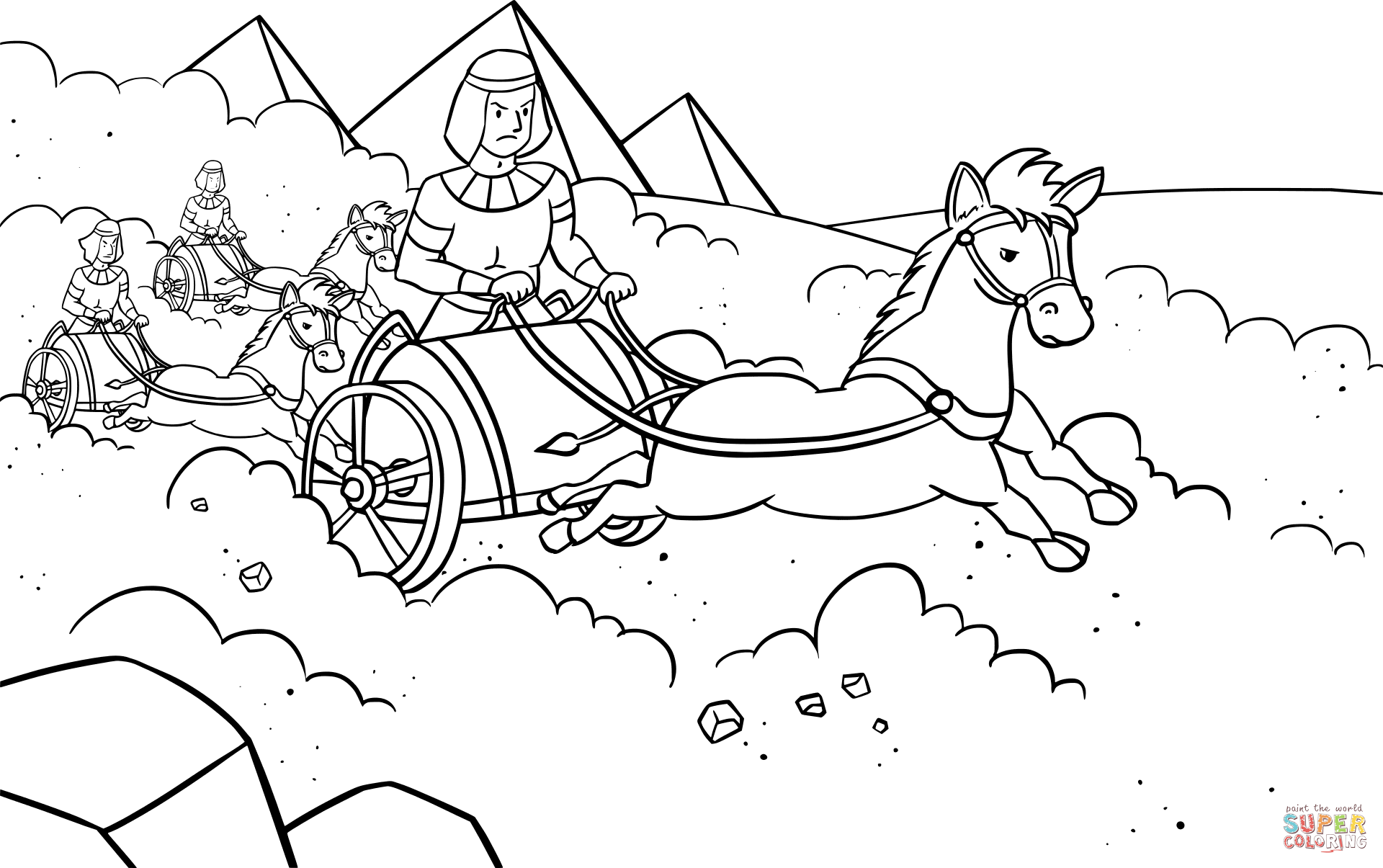 Pharaoh S Army Pursued The Israelites Coloring Page