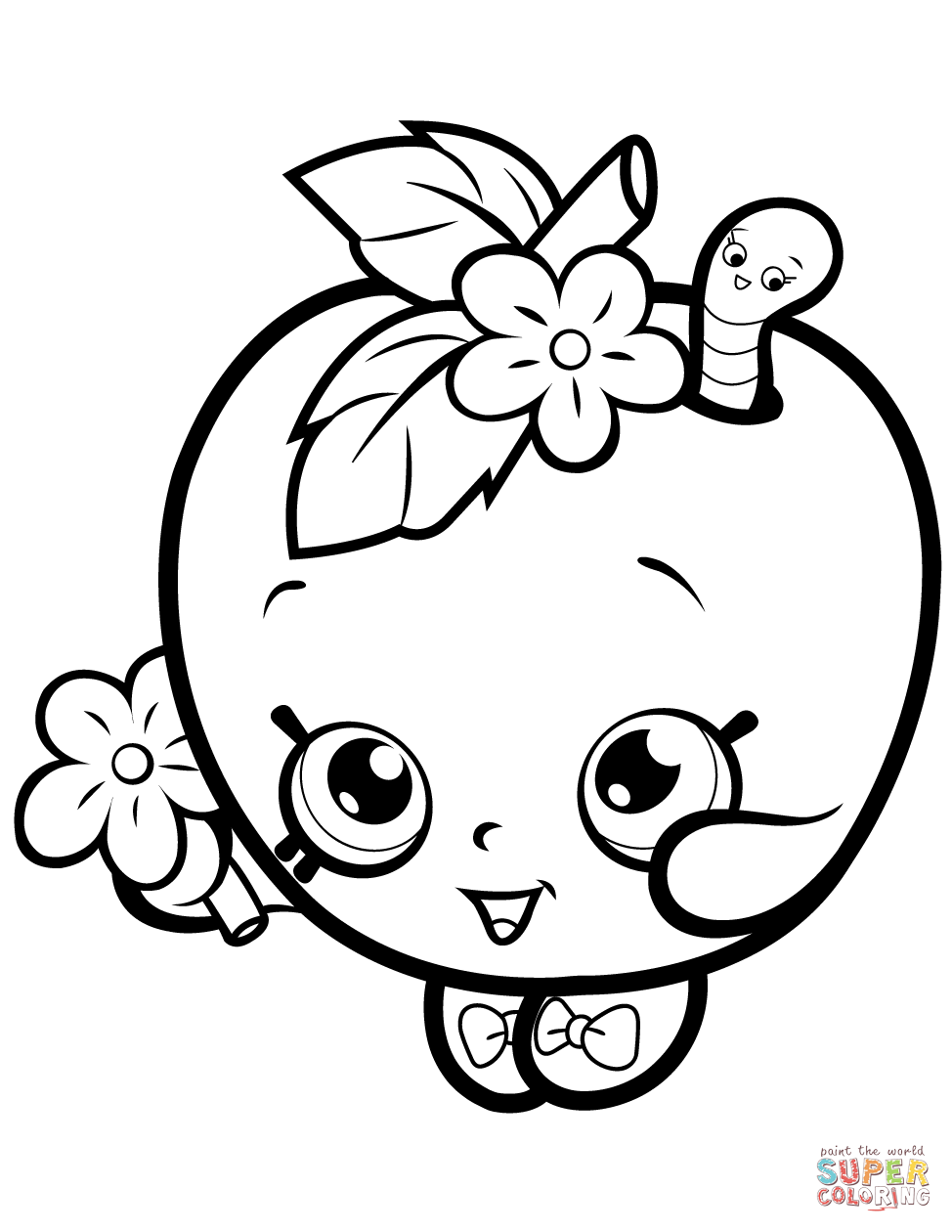 Apple Blossom Shopkin Coloring Page Free Printable Coloring Pages