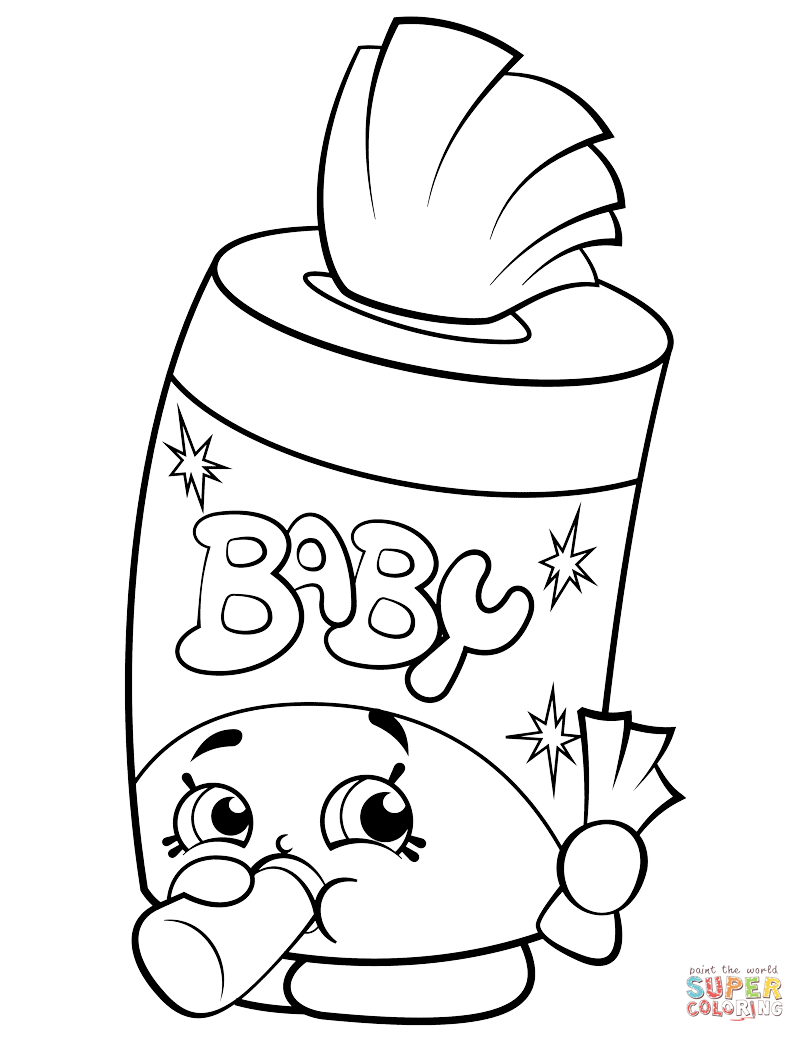 Baby Swipes Shopkin Coloring Page Free Printable