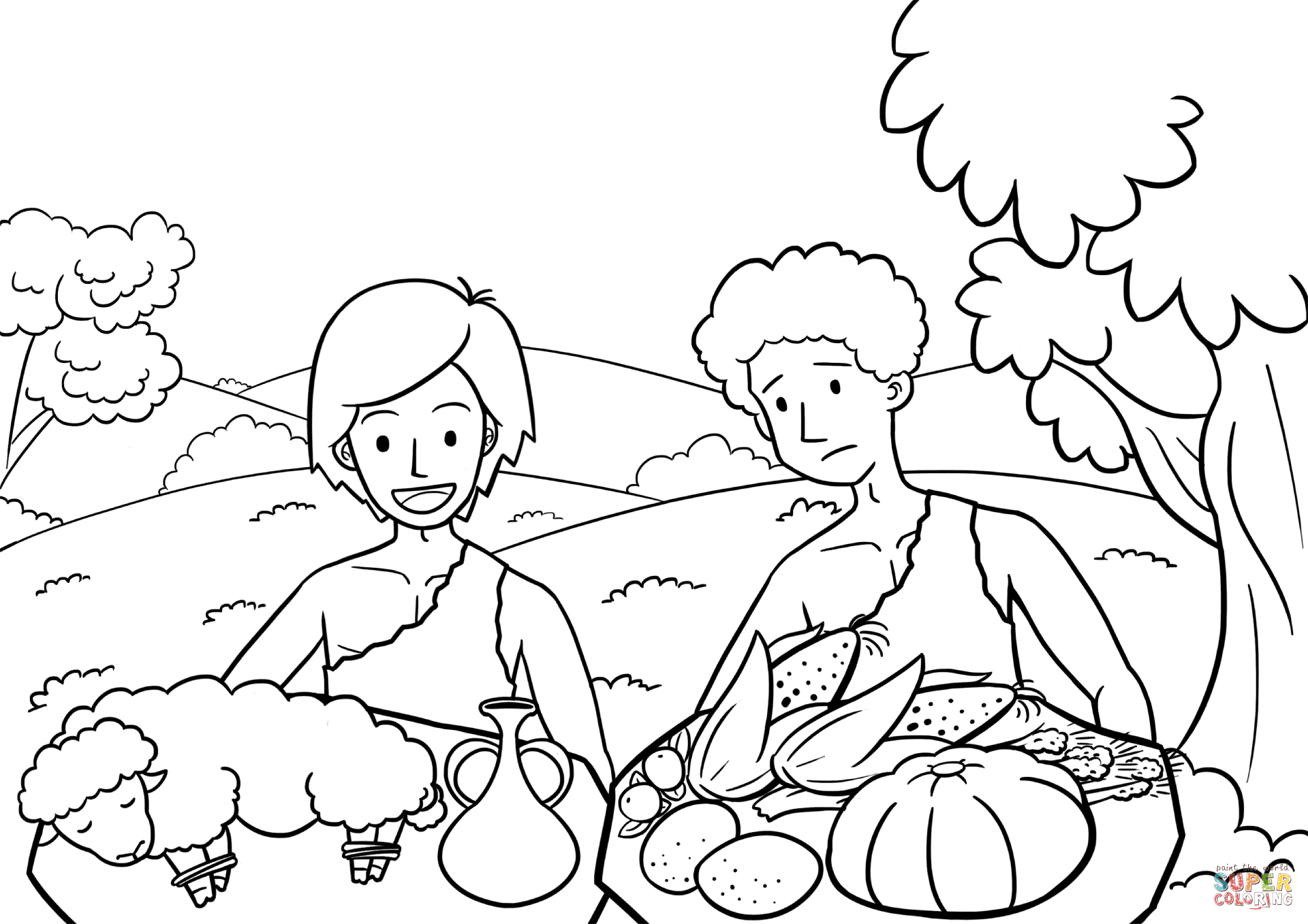Cain And Abel The Way Of Sacrifice Coloring Page