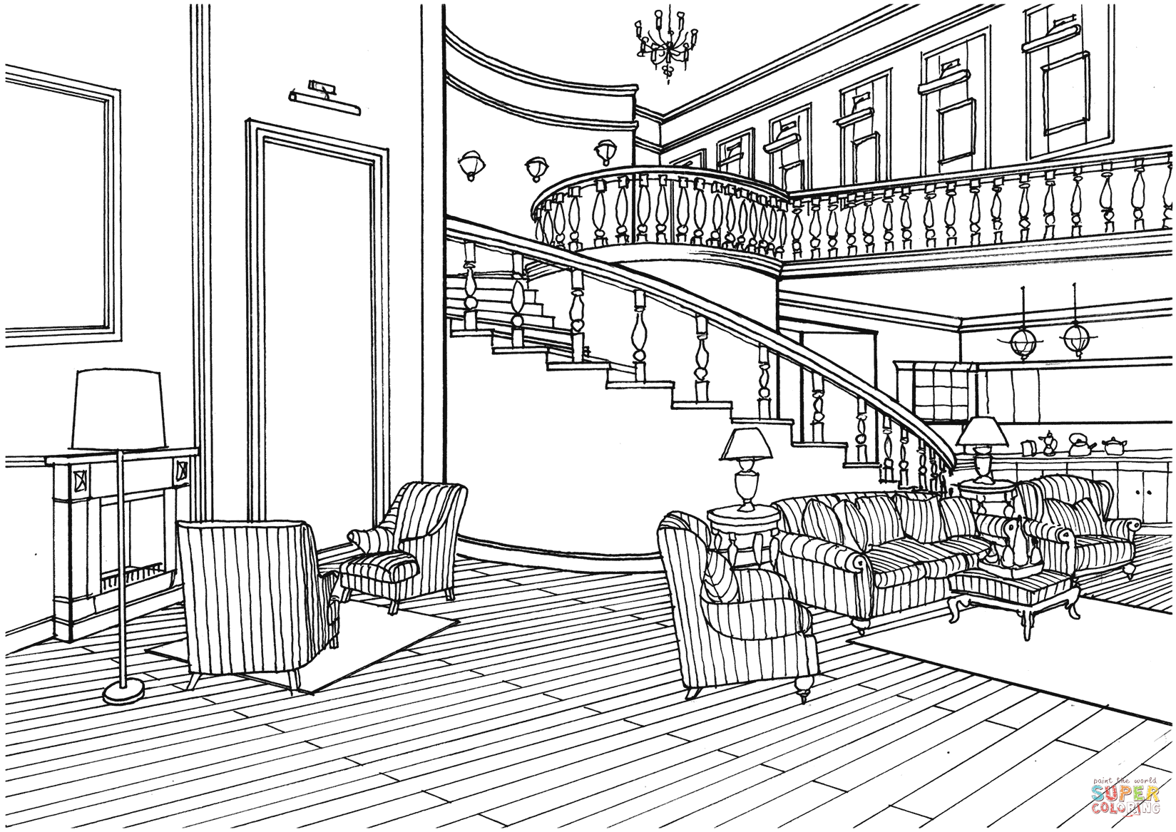 Classic Decor Large Living Room With Stairs Coloring Page